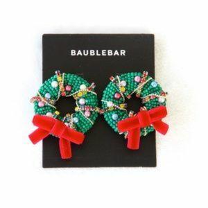NWOT BaubleBar Christmas Wreath Earrings!!